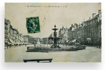 Carte postale 1910 : fontaine coté place Tourny